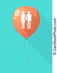 Long shadow balloon with a heterosexual couple pictogram -...