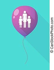 largo, sombra, globo, con, Un, hembra, solo, padre, familia,...
