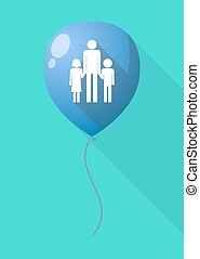 Long shadow balloon with a male single parent family...