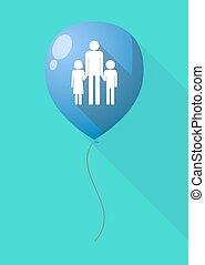 largo, sombra, globo, con, Un, macho, solo, padre, familia,...