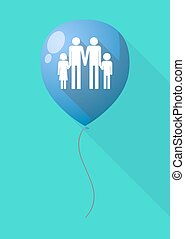 Long shadow balloon with a gay parents family pictogram -...