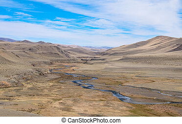 Fluvial terrace in Central Asia in the Altai. The result of...