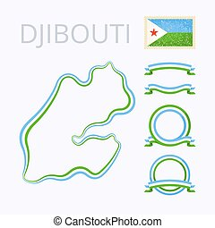 Colors of Djibouti - Outline map of Djibouti Border is...