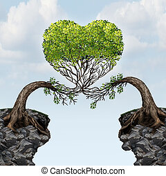 Love Connection - Love connection concept as two trees on...