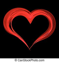 Red smoke heart on a black background.