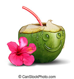 Happy Tropical Drink Concept - Happy tropical drink concept...