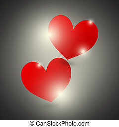 Red Hearts Black Background