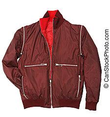 Man red jacket isolated on white background