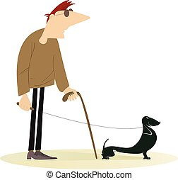 blind man - Blind man with a guide dog