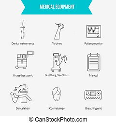 Thin lines web icon set - Medicine equipment including...