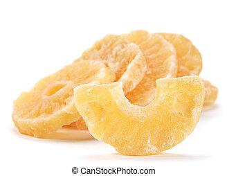 Candided fruit pineapple slice on white background