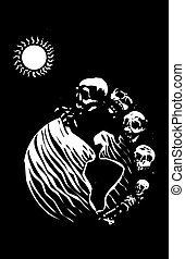 Death Earth - Woodcut style image of a batch of skulls and...