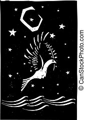 Dove Night - Woodcut style image of the biblical dove...