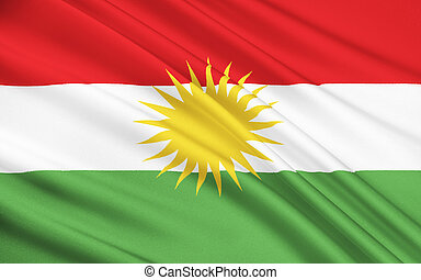 Flag of Kurdistan - ethno-geographical area in the Near...