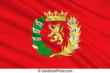 Flag of Zaragoza - a city in the northeast of Spain, the...