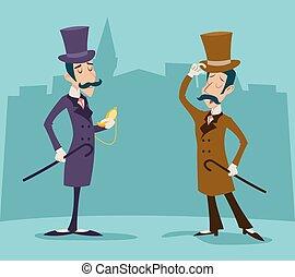 Victorian Gentleman Meeting Businessman Cartoon Character...