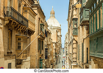 Narrow street in Malta - Narrow street in Valletta - the...