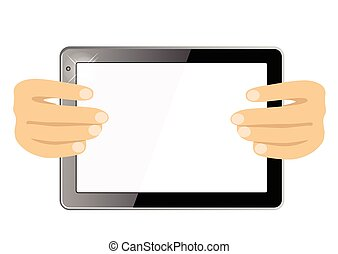 hands showing a tablet touch computer gadget with isolated screen