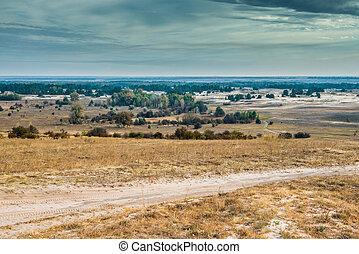 view of Kharkov desert in autumn - scenic view of Kharkov...