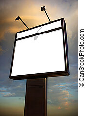 Evening Billboard - Photo of a big blank billboard against a...