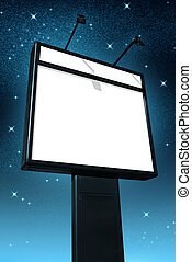 Billboard at night - Photo of a big blank billboard against...