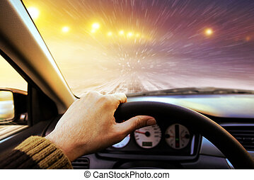 Driving on winter road