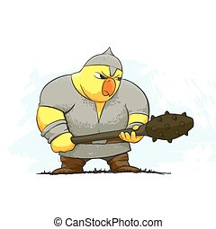 angry chicken warrior - illustration of chicken warrior on...