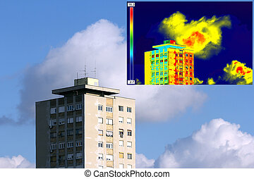Infrared and real image on Residential building - Infrared...