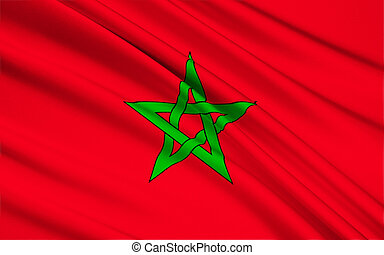 Flag of Morocco, Rabat - The flag of Morocco - Red has...