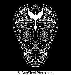 Dia de Muertos Tattoo Skull Day Dead inverse Full - Dia de...