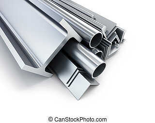 rolled metal products. 3d Illustrations on a white...