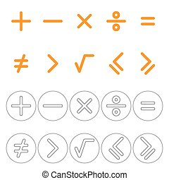 Icons mathematical signs Plus, minus, multiply, divide,...