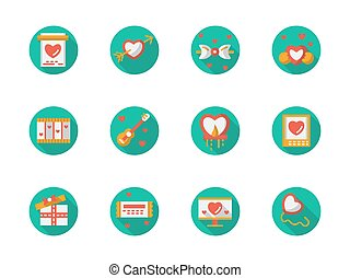 Round flat color love courtship vector icons - Green...