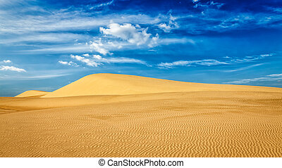 Desert sand dunes on sunrise - Panorama of White sand dunes...
