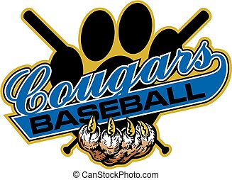 cougars baseball team design with crossed bats for school,...