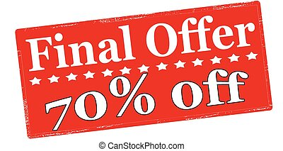 Final offer seventy percent off - Rubber stamp with text...