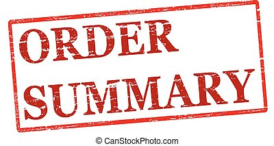Order summary - Rubber stamp with text order summary inside,...