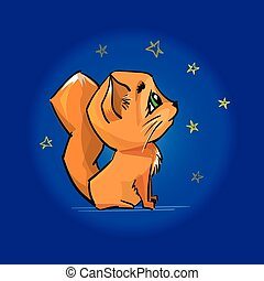 Cute red cat looking at the night sky and stars.