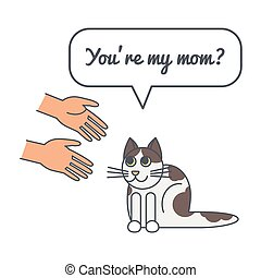 Spotty cat with speech bubble and saying.Vector color line...