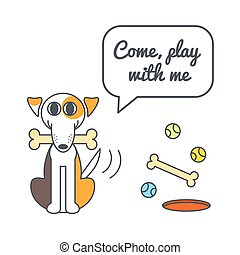Playful dog with speech bubble and saying