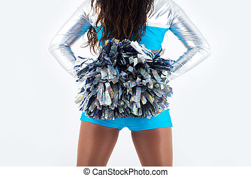 Long-hair cheerleader with pom-poms - Picture of a long-hair...