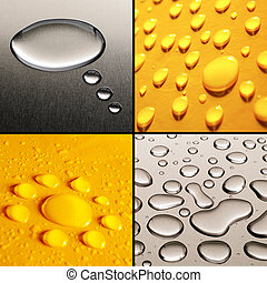Water Drops Set - Collection of four water drops images in...