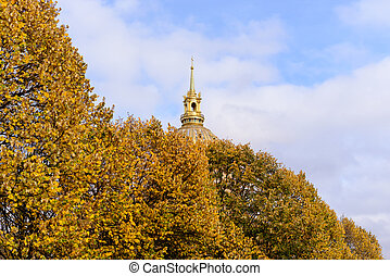 Golden dome of Les Invalides on background. Les Invalides -...