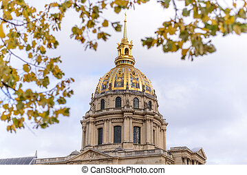 Golden dome of Les Invalides on background Les Invalides -...