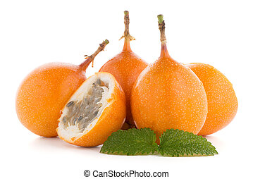 Passion fruit maracuja granadilla on white background