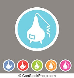 Distillation apparatus icon flat web sign symbol logo label...