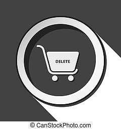 icon - shopping cart delete with shadow - black icon with...