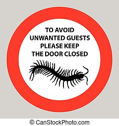 Sticker with Warning sign insect icon centipede Silhouette...