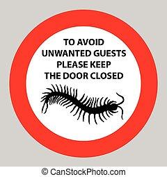adesivo, con, avvertimento, segno, insetto, icona,...