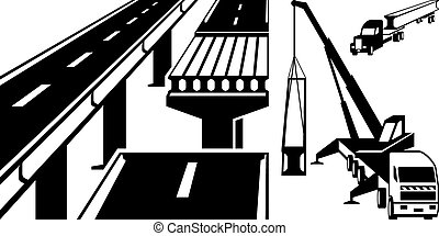 Crane mounting concrete beam bridge - vector illustration